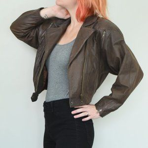 Vintage 90s Tannery West Crop Leather Jacket Sz XS